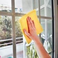 cleaning window glass